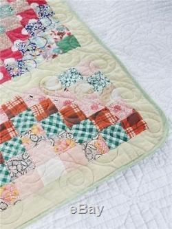 Diamonds & Postage Stamps! Vintage Handmade Patchwork Quilt Reversible