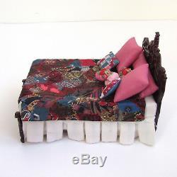 Dollhouse BESPAQ BED CARVED Artisan CRAZY QUILT Vtg Handmade Artist Made Blanket