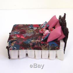 Dollhouse BESPAQ BED ORNATE Handmade CRAZY QUILT Vtg Artisan Artist Made Blanket