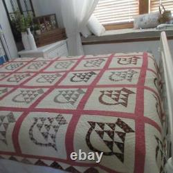 Early 1870s Antique BASKET QUILT withEdge Detail 83x68 Copper Madder Chocolates