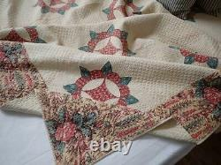 Early c1840 PA Pre Civil War Chintz Compass QUILT 90x87 Quilted to death