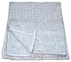 Ethnic Bedspread Ralli King SIze Vintage Kantha Quilt Indian Handmade Blanket-YZ