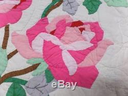 Exquisite Vintage Applique Pink Roses Quilt Handmade 74 x 86