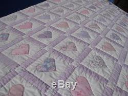 Exquisite Vintage Country Romance Valentine Wild Hearts Hand Made Heart Quilt