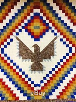 Extraordinary Vintage Handmade Postage Stamp Eagle Liberty Southwest Quilt