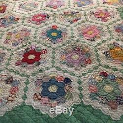 Fabulous Vintage Handmade Grandmother's Flower Garden Quilt 78x130
