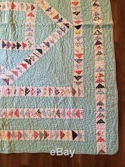 Fantastic Vintage 30s FEEDSACK Quilt Graphic Stripe FLYING GEESE HANDMADE Patern