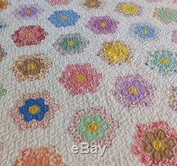 Fantastic Vintage Handmade Grandmother's Flower Garden Quilt Feed Sack Fabric