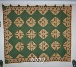 GOOSE CHASE w. Magic Mountains Border QUILT 64x76, c. 1880's, Wyoming Co, NYS