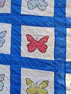 GORGEOUS HANDMADE/HAND STITCHED VINTAGE 1950'S BUTTERFLY QUILT-FULL 86x78