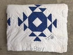GORGEOUS Vintage Blue & White HANDMADE Patchwork QUILT