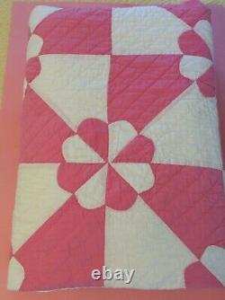 GORGEOUS Vintage Hand Made Quilt/Blanket Pink & White -Shabby Cottage Chic