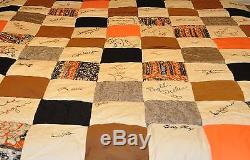 Genuine Celebrity Autographs Signed Vintage Handmade Patchwork Quilt