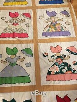 Giant Handmade Quilt Ladies In Dresses With Umbrella Different Colors Vintage