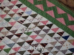 Gift Quality Outstanding Antique c1880 Pink & Green Flying Geese QUILT 82x64