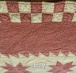 Gorgeous Vintage 30's Hand Quilted Handmade Ohio Star Quilt -11 Sti -88x78