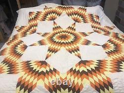 Gorgeous Vintage Quilt Handmade Machine & Hand Stitched Orange Brown Yellow