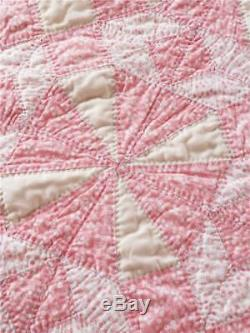 Gorgeous Vintage Quilt Pink & Yellow Stars Variation Handmade