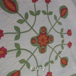 Graceful Whig Rose Variation Civil War Era Red Cheddar Green Applique QUILT
