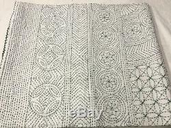 Green Kantha Quilt Bedspread Cotton Handmade Indian Blanket King Size, Crazy