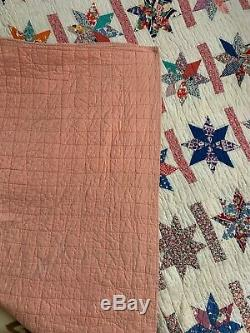 HAND MADE QUILT 81 x 63, Cotton, hand sewn Vintage OOAK- MUST SEE