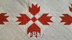 HAND SEWN QUILT VINTAGE ANTIQUE QUILT HAND MADE 68 x 76 CALICO BEAR CLAW QUILT