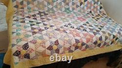 HAND SEWN QUILT VINTAGE ANTIQUE QUILT HAND MADE 80 x 96 FANTASTIC STAR QUILT