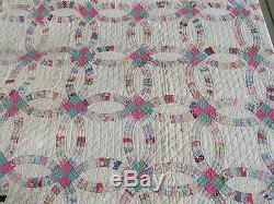 HAND SEWN QUILT vintage antique quilt Handmade Cotton 80 x 77 wedding band ring