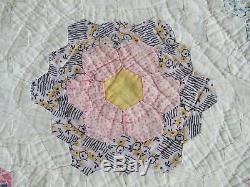 HAND SEWN QUILT vintage antique quilt Handmade Cotton 88 x 75 flower garden