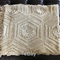 HANDMADE 80 X 100 Afghan Knit Vintage 3D Quilt Blanket Tassel Bohemian Crochet