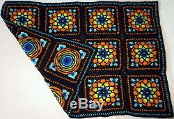 HANDMADE Crochet AFGHAN vtg STAINED GLASS Knit THROW Quilt COUCH Lap BED BLANKET