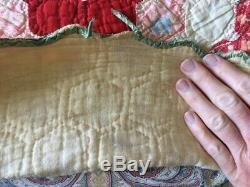 HANDMADE Hand SEWN VINTAGE ANTIQUE QUILT 70 X 84 GRANDMA'S FLOWER GARDEN