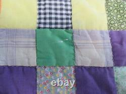 HANDMADE VINTAGE PATCHWORK QUILT 112 x 76 2 SQUARES COUNTRY COLORFUL