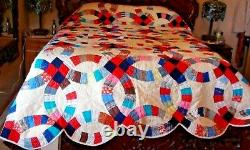 HUGE Vintage Handmade Double Wedding Ring QUILT Hand Quilted 96 X 112 Nice
