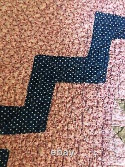 Hand Made Vintage Quilt 87x70 1930s PinkVG Cond