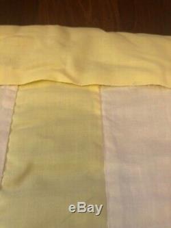 Handmade 68x84 Vintage Yellow White Circle Flower Simple Sampler Quilt