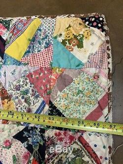 Handmade Crazy Quilt Vintage Old Cotton Fabric Blanket 53x67