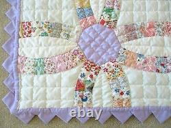 Handmade & Hand Quilted Wedding Ring Quilt Vintage blocks pieced together 1975
