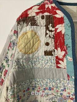 Handmade Jacket Made From Vintage Quilts Multi Color Floral L XL