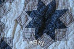 Handmade Patchwork Quilt Drab Brown Blue Plaid Country Farmhouse 84 x 86 Vintage