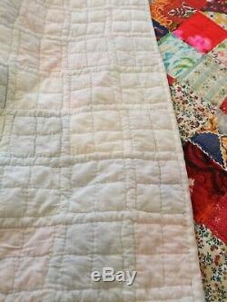 Handmade Patchwork Quilt VTG 1970s Hand Quilted 96 X 120 Oversize King Boho