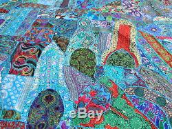 Handmade Patchwork Turquoise Blue Quilt Queen Vintage Sari Bedspread India Boho