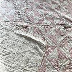 Handmade Pinwheel Baby Quilt 52x42 Vintage