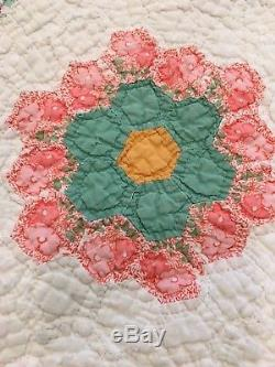 Handmade Stunning Vintage Quilt 81x58