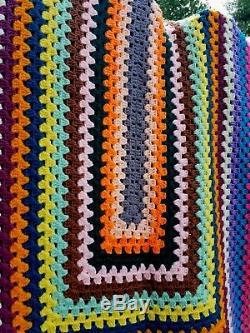 Handmade Vintage 1970's Afghan/Brady Bunch/mid century/hippie