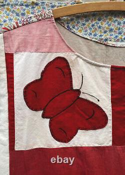Handmade Vintage Quilt Patchwork Dress with Butterfly Applique