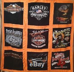 Handmade vintage Harley Davidson Quilt One of a Kind Harley T shirt Quilt