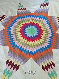 Huge Antique Vintage Handmade Cotton Quilt Colorful Star Motif Approx 100 x 105