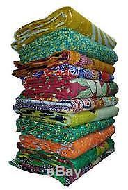 Indian Old Vintage Patchwork Kantha Quilt, Quilts Blanket