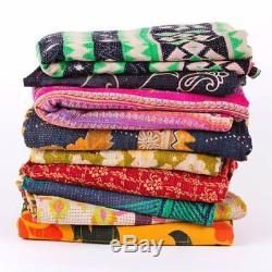 Indian 10 Pcs Lot tribal kantha quilt Vintage Cotton Bed cover Wholesale Blanket